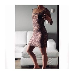 American Apparel Bodycon Nude Lace Print Dress